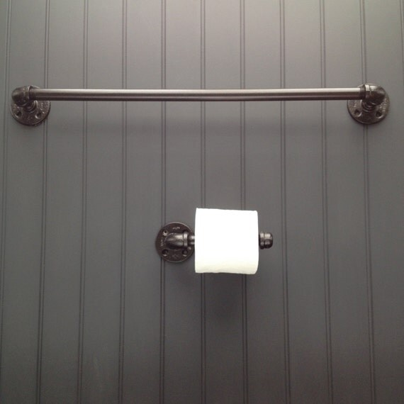 Items Similar To Finished Pipe Bathroom Fixture Set With Two Towel Racks And Toilet Paper Roll