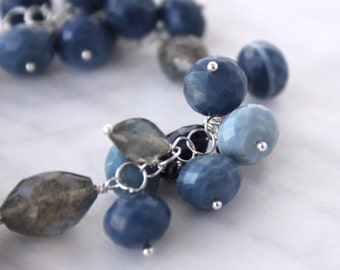 Denim Blue Opal, Sapphire and Labradorite Bracelet in Solid Sterling Silver - SALE 50% Off