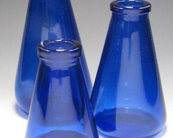 Trio of Cobalt Bud Vases