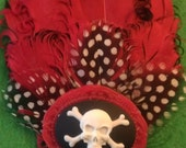 Skull, Pirate, Red, Pin up, Red fascinator, Ready to ship, Skull cameo, Red feather, Red and black, new years
