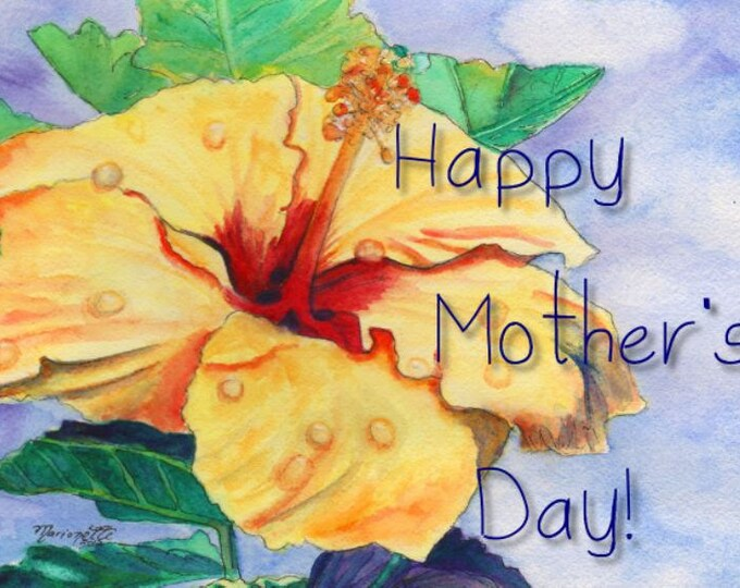 Printable DIY Mothers Day card 5x7 pdf Yellow Hibiscus from Kauai Hawaii by Marionette