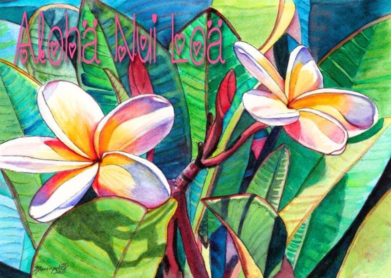Printable DIY Hawaiian Valentines or Love or Birthday card 5x7 – Hawaiian Birthday Greetings