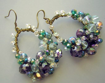 Statement Earrings Crystal Encrusted Hand Wrapped Wire - Haskell Inspired - Pisces Colors  Purple Aqua