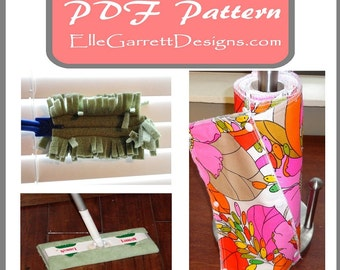 PDF Pattern - Reusable Clean Green Cloth Patterns - Paper Towels Dusters and Sweepers