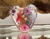 1 handmade lampwork bead focal -- SRA -- glass -- Silke Buechler -- Calypsos Beads -- H e a r t b e a d  2