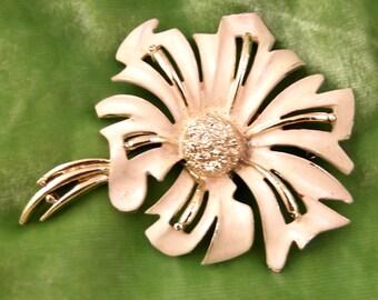 Vintage Creamy White Enamel Flower Brooch