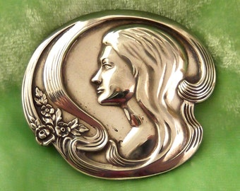 Vintage Sterling Silver Pin/Pendant - Art Nouveau Style Woman and Flowers - Mother's Day 1973 - Signed Lunt