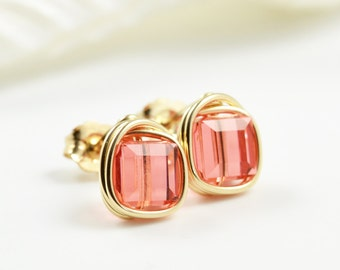 Pink Salmon Post Earrings, Salmon Posts, Bridesmaid Earrings, Swarovski Studs