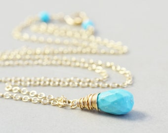Turquoise Necklace, Robins Egg Blue, December Birthstone, Turquoise Jewelry