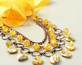 Shell Necklace, Yellow Necklace, Multi Strand, Shell Vintage Glass Necklace, OOAK