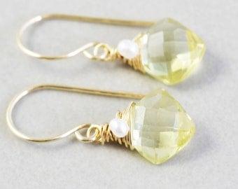Yellow Drop Earrings, Brazilian Quartz Earrings, Yellow Dangle Earrings, Pearl Earrings