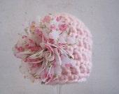 Crochet Baby Girl Hat, Crochet Baby Hat, Newborn Girl Hat, Infant Girl Hat, Baby Girl Beanie, Photo Prop, Pink, Baby Flower Hat