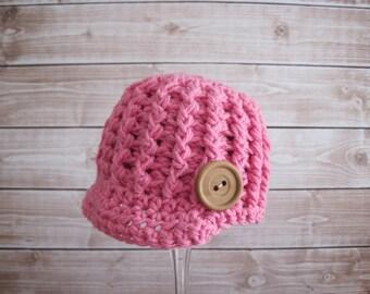 Baby Girl Hat, Crochet Baby Hat, Newborn Girl Hat, Infant Hat, Baby Newsboy Hat, Baby Beanie, Newsboy Cap, Baby Shower Gift, Hospital Hat