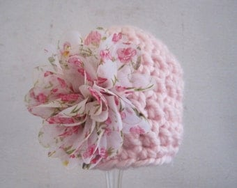 Baby Girl Hat, Crochet Baby Hat, Newborn Girl Hat, Infant Girl Hat, Baby Girl Beanie, Photo Prop, Pink, Baby Flower Hat