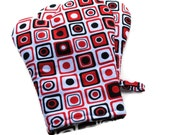 Handmade Oven Mitts set of 2 Red and Black