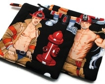 Quilted  Pot holders Hot Firefighers in Black set of 2