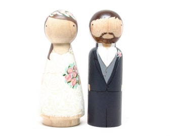 Cake Topper // Wedding Cake Topper // Peg Dolls // Wooden Cake Toppers // Custom Cake Toppers // Goose Grease // Wooden Dolls Goose Grease