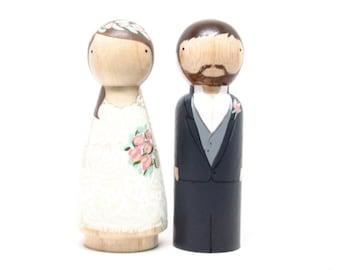 Cake Topper // Wedding Cake Topper // Peg Dolls // Wooden Cake Toppers // Custom Cake Toppers // Goose Grease // Wooden Dolls Goose Grease