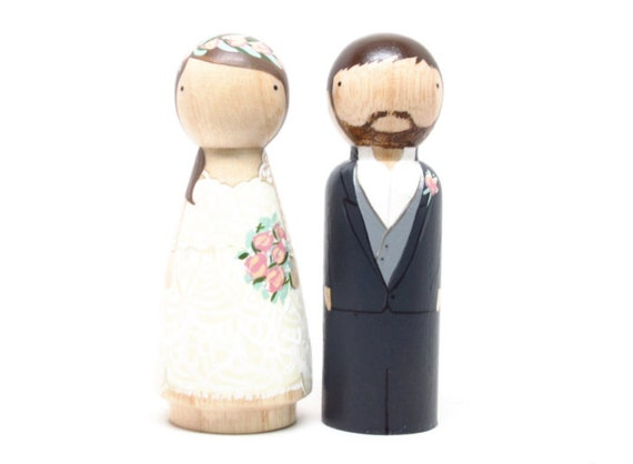 Cake Topper Wedding Peg Dolls Wooden