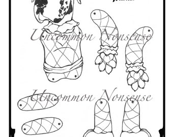 Ernie, A Harlequin Pantin Jointed Paper Doll, Adult or Child's Coloring Page download
