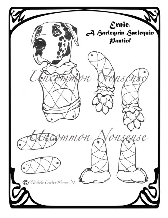 harlequin coloring pages | Ernie A Harlequin Pantin Jointed Paper Doll Adult or