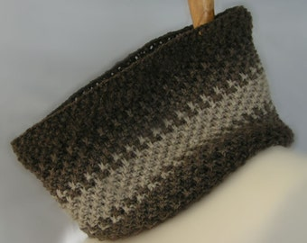 cowl neck natural color wool handknit COLOR MAGIC COWL Unisex men women teen One SIze brown oatmeal