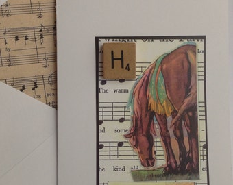 Brown Horse collage note card