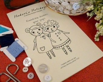Raggedy ann FRIENDS Stitchery Pattern PDF - embroidery doll e flower primitive prim pillow tuck BFF pincushion