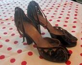 1940's Black Cutout Leather Heels