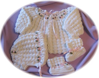 Crochet Pattern for Baby Puff Stitch Sweater,  Bonnet and Booties