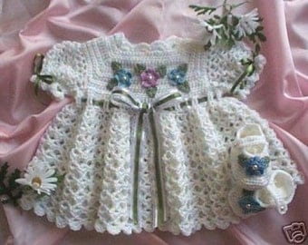Crochet Pattern for Springtime Baby Dress with Booties