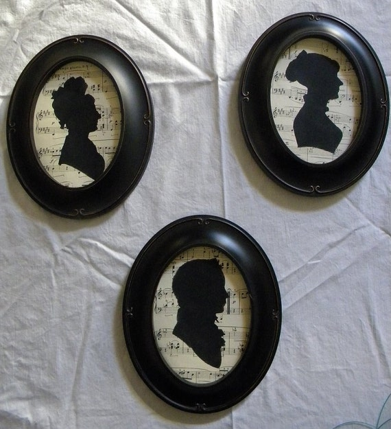 Vintage Style Oval Framed Jane Austen Style Silhouette on Antique Sheet Music - a Young Boy - Shabby Chic Downton Abbey Decor