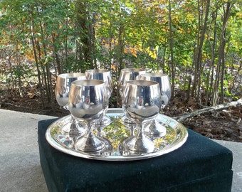 Cased Brandy Snifters Silver Plate Brandy Glasses Barware Wine Glasses Wedding Decorations Table Decor Serving Tray Cased Set 7 Pieces