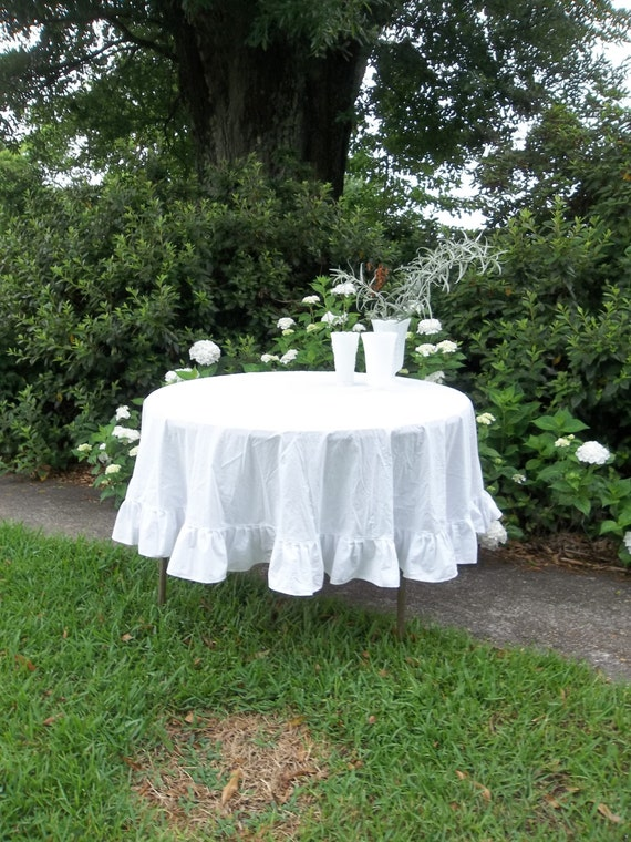 Ready To Ship Ruffled Tablecloth Round White Tablecloth
