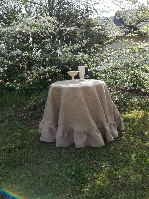 90 Ruffled Burlap Tablecloth Handmade Ruffed Tablecloth