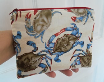 Zippered Bag, Zippered Purse, Clutch, Cosmetic Bag, Crab Print