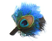Weddings, Men, Peacock Feather Boutonniere, Lapel Pin, Groom, Groomsmen, Black, Ivory, Blue, pick your colors, Batcakes Couture