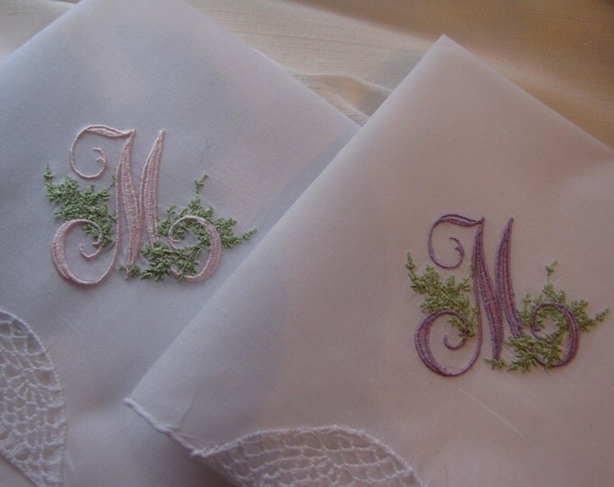 Monogrammed Handkerchief - Understated Elegance with Single Monogram Wedding Hankie, Hanky, Something Blue