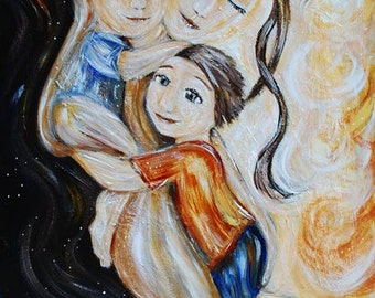 mother and children art - Happy Hour - archival signed prints