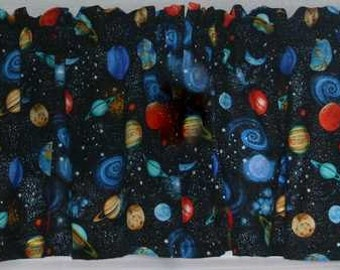 Planets Astronomy Galaxy Cosmic Space Solar System Handcrafted Custom Sewn Curtain Valance