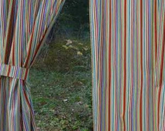 Robot Stripe Curtain Panels Sewn in Blue Green Red Orange Brown White Striped Curtains / Drapes