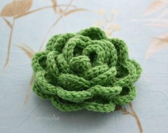 Crochet flower brooch, shawlpin, green I876