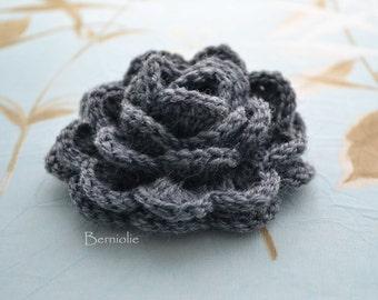 Crochet flower brooch, shawlpin, dark grey I895