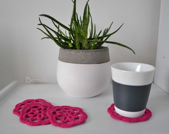Hot Pink cotton crochet coasters, set of 4, I929