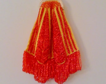Orange Bead Knitted Bag