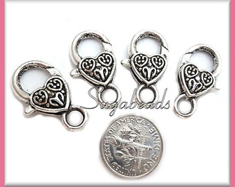 4 Heart Lobster Clasps Antiqued Silver Heart Shaped Clasps 25mm