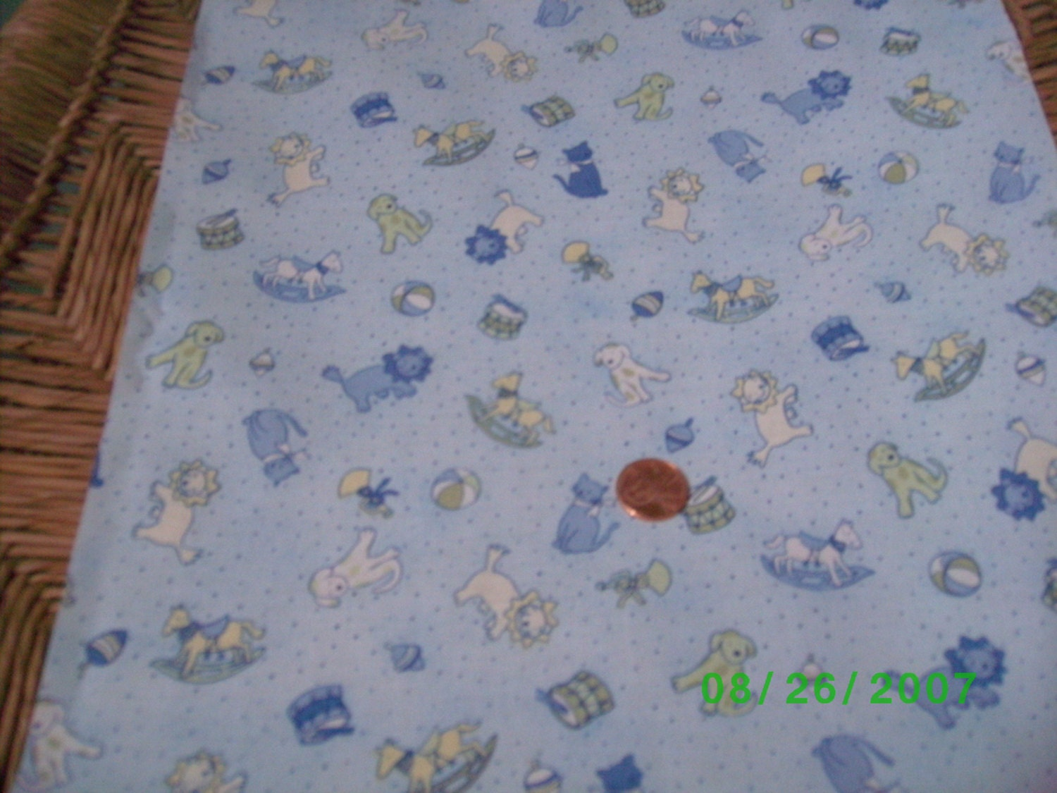 Childrens novelty quilt fabric animals toys on blue for Kids novelty fabric