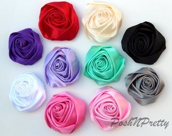 "3.5"" Xtra Large Layered Rolled Satin Cupcake Rose - Set of 5 - CHOOSE COLORS"