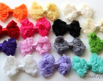 5 PCS Mini Rose Mesh bows appliques- 2.5 inches- PICK COLORS