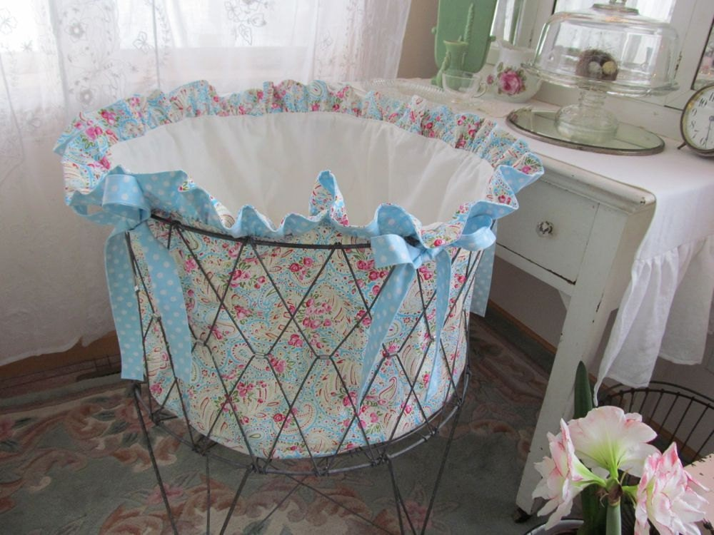 Treasury Item Vintage Wire Laundry Cart Basket Hamper Liner